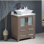 Torino 24'' Wide Gray Oak Modern Bathroom Cabinet w/ Top & Vessel Sink
