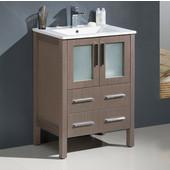 Torino 24'' Wide Gray Oak Modern Bathroom Cabinet w/ Integrated Sink
