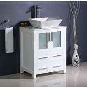 Torino 24'' Wide White Modern Bathroom Cabinet w/ Top & Vessel Sink