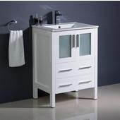 Torino 24'' Wide White Modern Bathroom Cabinet w/ Top & Integrated Sink
