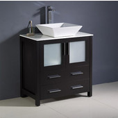 Torino 30'' Wide Espresso Modern Bathroom Cabinet w/ Top & Vessel Sink