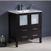 Torino 30'' Wide Espresso Modern Bathroom Cabinet w/ Integrated Sink