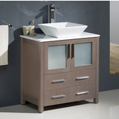 Torino 30'' Wide Gray Oak Modern Bathroom Cabinet w/ Top & Vessel Sink