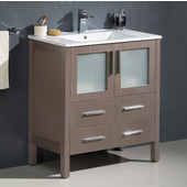 Torino 30'' Wide Gray Oak Modern Bathroom Cabinet w/ Integrated Sink