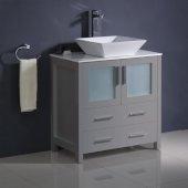 Torino 30'' Gray Modern Bathroom Vanity Cabinet w/ Top & Vessel Sink, 30'' W x 18-1/8'' D x 35-5/8'' H