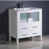 Torino 30'' Wide White Modern Bathroom Cabinet w/ Integrated Sink
