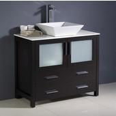 Torino 36'' Wide Espresso Modern Bathroom Cabinet w/ Vessel Sink