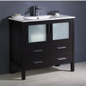 Torino 36'' Wide Espresso Modern Bathroom Cabinet w/ Integrated Sink