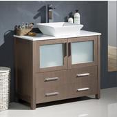 Torino 36'' Wide Gray Oak Modern Bathroom Cabinet w/ Top & Vessel Sink