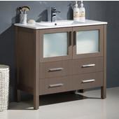 Torino 36'' Wide Gray Oak Modern Bathroom Cabinet w/ Integrated Sink