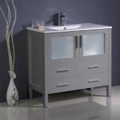 Torino 36'' Gray Modern Bathroom Vanity Cabinet w/ Integrated Sink, 35-3/4'' W x 18-1/8'' D x 33-3/4'' H