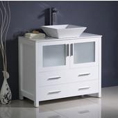 Torino 36'' Wide White Modern Bathroom Cabinet w/ Top & Vessel Sink