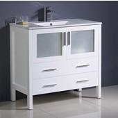 Torino 36'' Wide White Modern Bathroom Cabinet w/ Integrated Sink