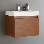 Nano Teak 23-2/5'' Wide Modern Bathroom Cabinet w/ Integrated Sink