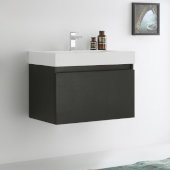 Mezzo 30'' Black Wall Hung Modern Bathroom Cabinet w/ Integrated Sink, Overall Dimensions: 29-1/2'' W x 18-7/8'' D x 21-5/8'' H