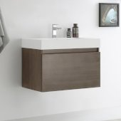Mezzo 30'' Gray Oak Wall Hung Modern Bathroom Cabinet w/ Integrated Sink, Overall Dimensions: 29-1/2'' W x 18-7/8'' D x 21-5/8'' H