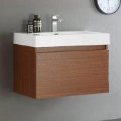 Mezzo 30'' Teak Wall Hung Modern Bathroom Cabinet w/ Integrated Sink, Overall Dimensions: 29-1/2'' W x 18-7/8'' D x 21-5/8'' H