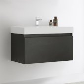 Mezzo 36'' Black Wall Hung Modern Bathroom Cabinet w/ Integrated Sink, Overall Dimensions: 35-3/8'' W x 18-7/8'' D x 21-5/8'' H