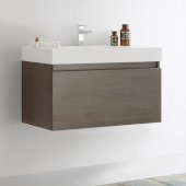 Mezzo 36'' Gray Oak Wall Hung Modern Bathroom Cabinet w/ Integrated Sink, Overall Dimensions: 35-3/8'' W x 18-7/8'' D x 21-5/8'' H