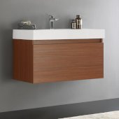 Mezzo 36'' Teak Wall Hung Modern Bathroom Cabinet w/ Integrated Sink, Overall Dimensions: 35-3/8'' W x 18-7/8'' D x 21-5/8'' H