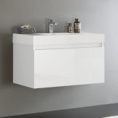 Mezzo 36'' White Wall Hung Modern Bathroom Cabinet w/ Integrated Sink, Overall Dimensions: 35-3/8'' W x 18-7/8'' D x 21-5/8'' H