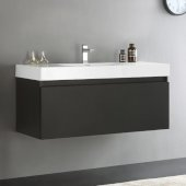Mezzo 48'' Black Wall Hung Modern Bathroom Cabinet w/ Integrated Sink, Overall Dimensions: 47-5/16'' W x 18-7/8'' D x 21-5/8'' H