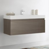 Mezzo 48'' Gray Oak Wall Hung Modern Bathroom Cabinet w/ Integrated Sink, Overall Dimensions: 47-5/16'' W x 18-7/8'' D x 21-5/8'' H