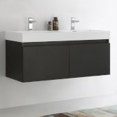 Mezzo 48'' Black Wall Hung Double Sink Modern Bathroom Cabinet w/ Integrated Sink, Overall Dimensions: 47-5/16'' W x 18-7/8'' D x 21-5/8'' H