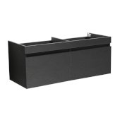 Mezzo 48'' Black Wall Hung Double Sink Modern Bathroom Vanity Base Cabinet, 47'' W x 18-3/4'' D x 17-5/8'' H