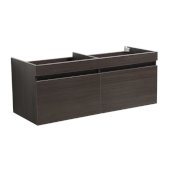 Mezzo 48'' Gray Oak Wall Hung Double Sink Modern Bathroom Vanity Base Cabinet, 47'' W x 18-3/4'' D x 17-5/8'' H