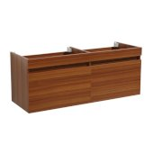 Mezzo 48'' Teak Wall Hung Double Sink Modern Bathroom Vanity Base Cabinet, 47'' W x 18-3/4'' D x 17-5/8'' H