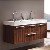 Opulento Walnut 54'' Wide Modern Double Sink Cabinet w/ Integrated Sinks