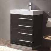 Livello 24'' Wide Black Modern Bathroom Cabinet w/ Integrated Sink