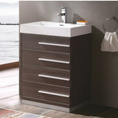 Livello 24'' Wide Gray Oak Modern Bathroom Cabinet w/ Integrated Sink
