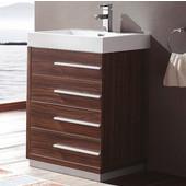 Livello 24'' Wide Walnut Modern Bathroom Cabinet w/ Integrated Sink