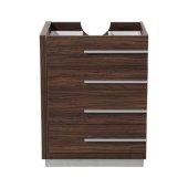 Livello 24'' Walnut Modern Vanity Base Cabinet, 23-3/8'' W x 18-5/8'' D x 29-1/2'' H