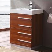 Livello 24'' Wide Teak Modern Bathroom Cabinet w/ Integrated Sink