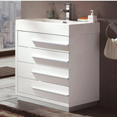 Livello 24'' Wide White Modern Bathroom Cabinet w/ Integrated Sink