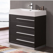 Livello 30'' Wide Black Modern Bathroom Cabinet w/ Integrated Sink