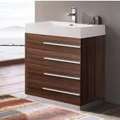 Livello 30'' Wide Walnut Modern Bathroom Cabinet w/ Integrated Sink