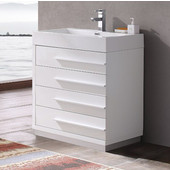 Livello 30'' Wide White Modern Bathroom Cabinet w/ Integrated Sink