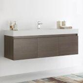 Mezzo 60'' Gray Oak Wall Hung Single Sink Modern Bathroom Cabinet w/ Integrated Sink, Overall Dimensions: 59'' W x 18-7/8'' D x 21-5/8'' H