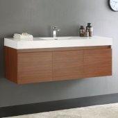 Mezzo 60'' Teak Wall Hung Single Sink Modern Bathroom Cabinet w/ Integrated Sink, Overall Dimensions: 59'' W x 18-7/8'' D x 21-5/8'' H