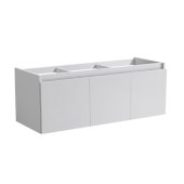 Mezzo 60'' White Wall Hung Single Sink Modern Bathroom Vanity Base Cabinet, 59'' W x 18-3/4'' D x 17-5/8'' H