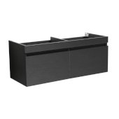 Mezzo 60'' Black Wall Hung Double Sink Modern Bathroom Vanity Base Cabinet, 58-13/16'' W x 18-3/4'' D x 17-5/8'' H