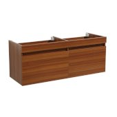 Mezzo 60'' Teak Wall Hung Double Sink Modern Bathroom Vanity Base Cabinet, 58-13/16'' W x 18-3/4'' D x 17-5/8'' H
