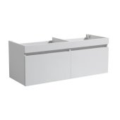 Mezzo 60'' White Wall Hung Double Sink Modern Bathroom Vanity Base Cabinet, 58-13/16'' W x 18-3/4'' D x 17-5/8'' H