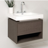 Potenza 27-2/5'' Wide Gray Oak Modern Bathroom Cabinet w/ Vessel Sink
