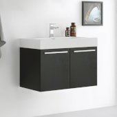 Vista 30'' Black Wall Hung Modern Bathroom Cabinet w/ Integrated Sink, Overall Dimensions: 29-1/2'' W x 18-7/8'' D x 21-5/8'' H