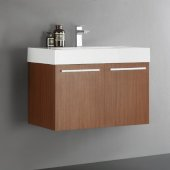 Vista 30'' Teak Wall Hung Modern Bathroom Cabinet w/ Integrated Sink, Overall Dimensions: 29-1/2'' W x 18-7/8'' D x 21-5/8'' H